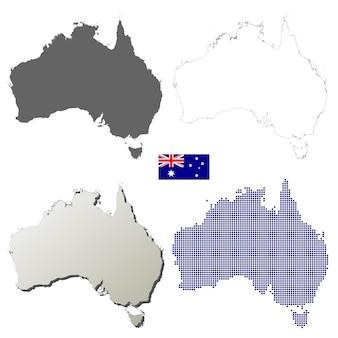 Australien-vektorumreißkartensatz