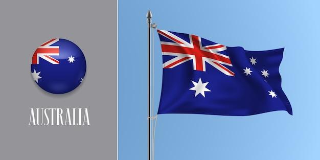 Australien winkende flagge auf fahnenmast und runder symbolillustration