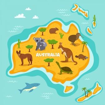 Australische karte mit tieren der wild lebenden tiere