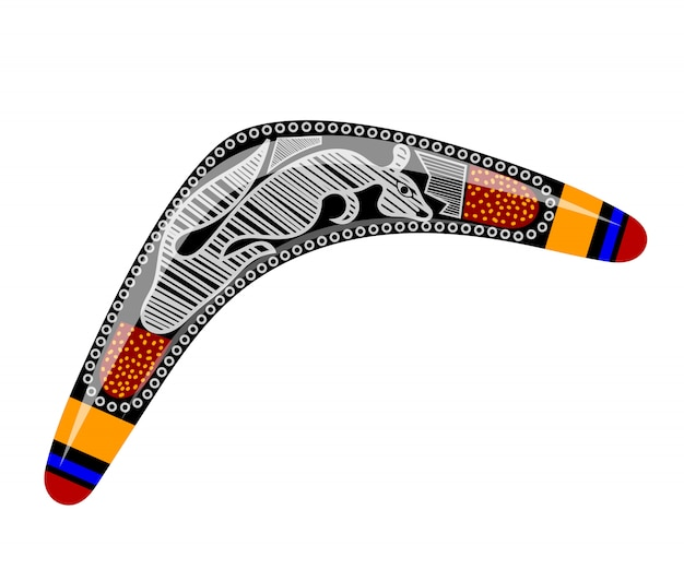 Australischer bumerang. cartoon-bumerang. bumerang mit stammeskänguru