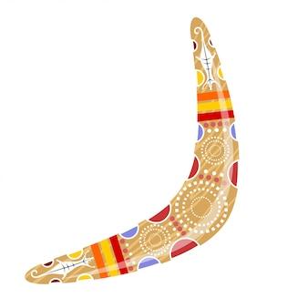 Australischer hölzerner bumerang. cartoon-bumerang. illustration der farbigen stammes- eidechse des bumerangs. vektor auf lager