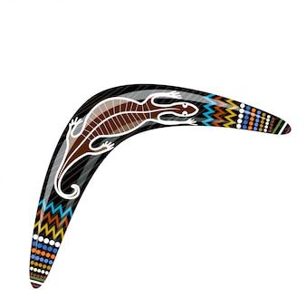 Australischer hölzerner bumerang. cartoon-bumerang mit einer eidechse. illustration der farbigen stammes- eidechse des bumerangs. vektor auf lager