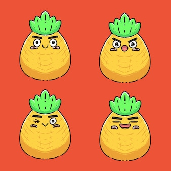 Auswahl an ananas mit verschiedenen ausdrucksformen