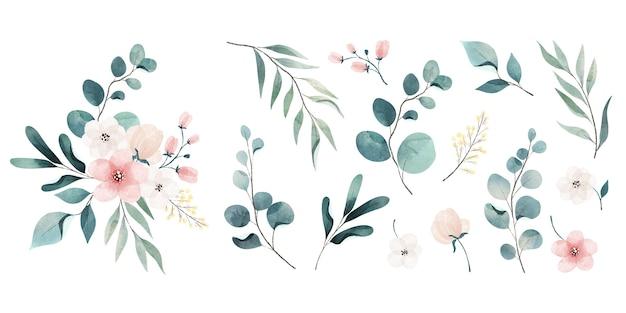 Auswahl an aquarellblättern und -blumen