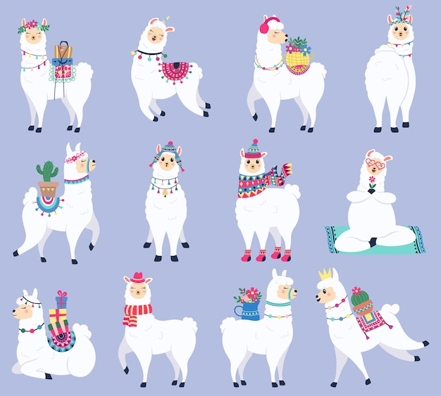 Auswahl an bunten lamas