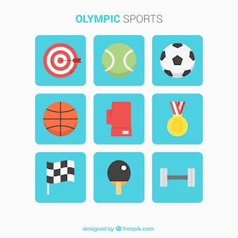 Auswahl an flachen elementen für den sport