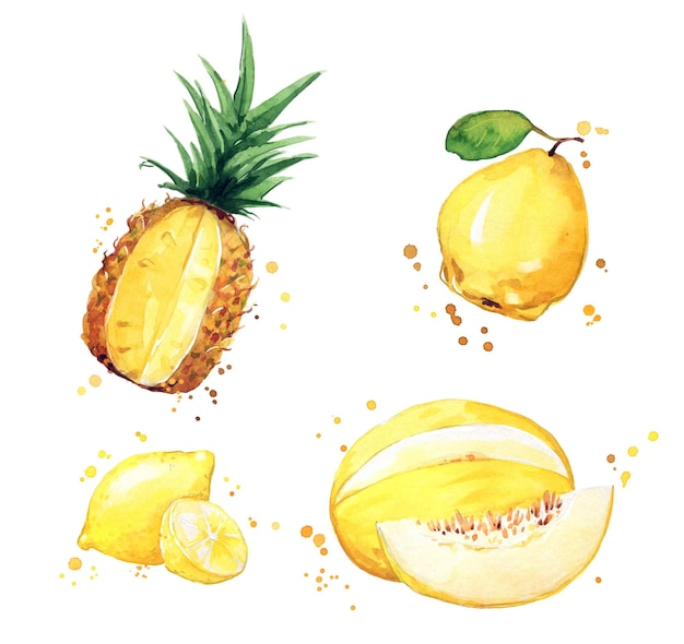 Auswahl an gelben lebensmitteln, aquarellobst und -gemüse
