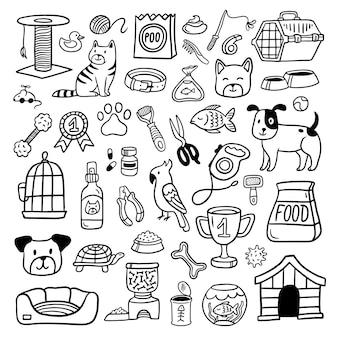 Auswahl an handgezeichneten haustierelementen