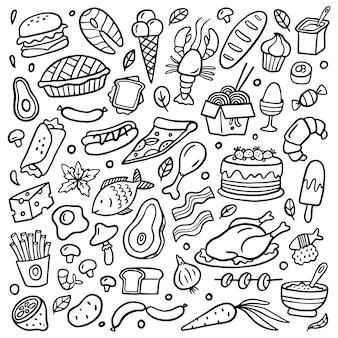 Auswahl an handgezeichneten speisen