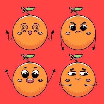 Auswahl an orangenfrüchten mit handgeste