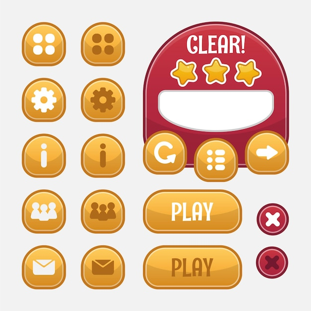 Auswahl an spielmenüs für rpg- und abenteuerspiele, einschließlich menü, levelauswahl und optionen.