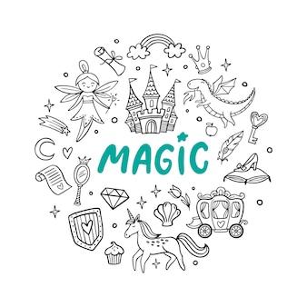 Auswahl an süßen magischen objekten