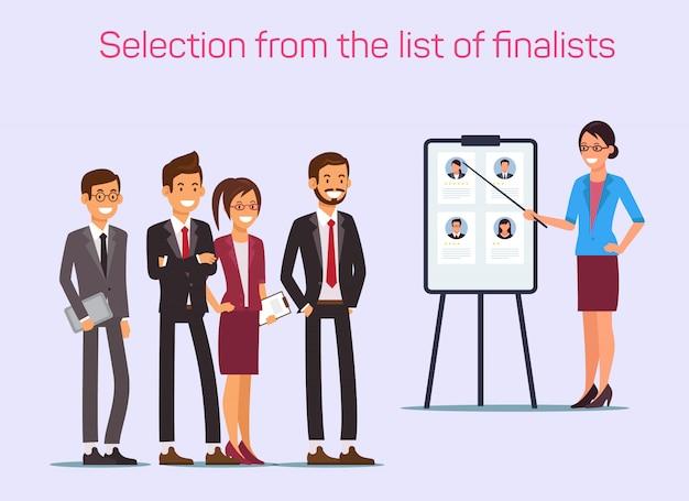 Auswahl aus der liste der finalisten. frau mit zeiger.