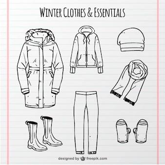Auswahl der hand bequem winterkleidung gezogen