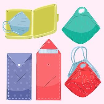 Auswahl der handgezeichneten gesichtsmasken-aufbewahrungsbox