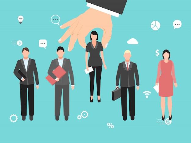 Auswahl des idealen kandidaten. big hand wählt den besten mitarbeiter unter den anderen kandidaten. gruppe des idealen angestellten und des auserlesenen kandidaten.