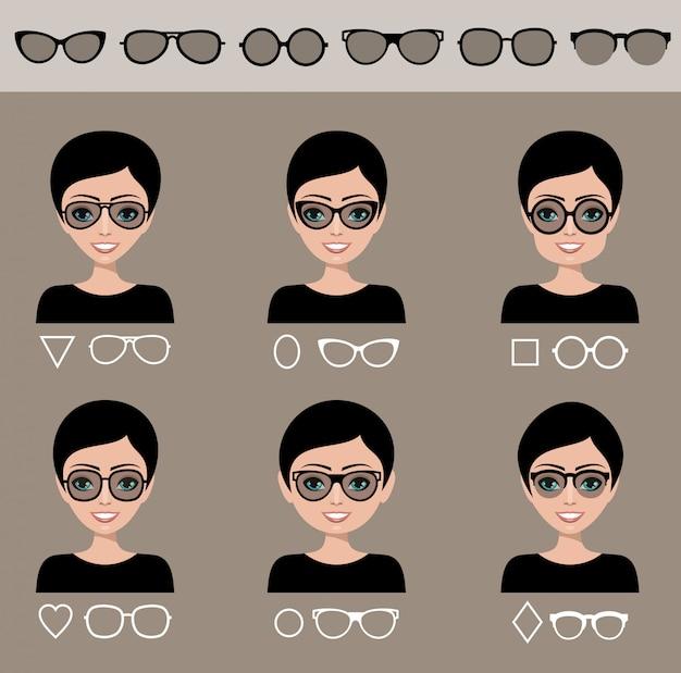 Auswahl sonnenbrille zu verschiedenen formen eines gesichts