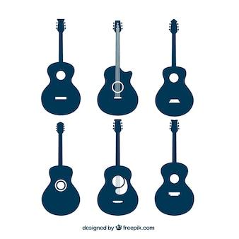 Auswahl von akustischen gitarren-silhouetten