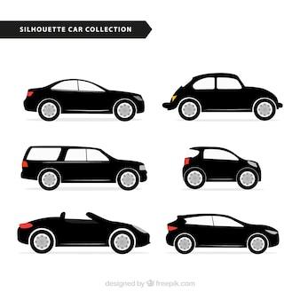 Auswahl von auto silhouetten mit farbdetails