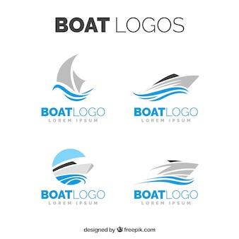 Auswahl von bootslogos in minimalistischem design