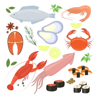 Auswahl von bunten vektor-meeresfrüchte-garnelen- und sushi-ikonen einschließlich tintenfisch-calamari-fisch-hummerkrabben-sushi-sushi-rollen garnelen-garnelen-muschel-lachssteak-gewürzen und gewürzen