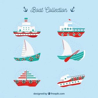 Auswahl von fantastischen booten mit roten details