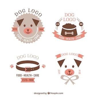 Auswahl von flachen hund logos mit rosa details