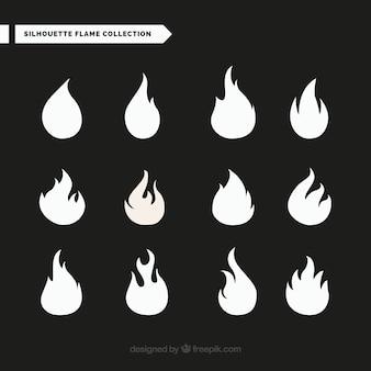 Auswahl von großer flamme silhouetten