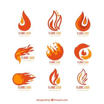 Auswahl von neun logos mit farbigen flammen
