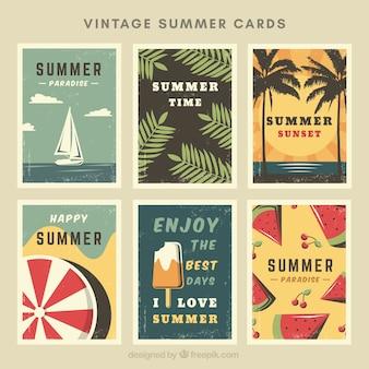 Auswahl von sechs retro sommerkarten