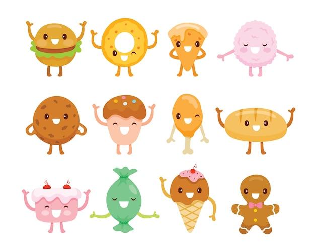 Auswahl von süßigkeiten in flachem design