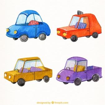 Auswahl von vier fahrzeugen in aquarell-stil