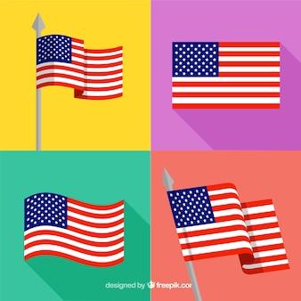 Auswahl von vier flachen amerikanischen flaggen
