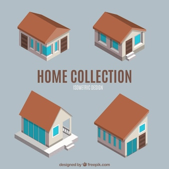 Auswahl von vier isometrischen häuser