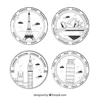 Auswahl von vier runden briefmarken mit großen städten