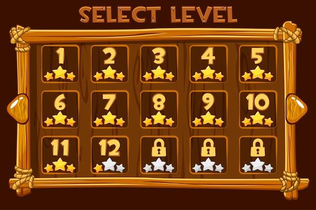 Auswahlbildschirm für cartoon wooden level. schnittstelle und tasten für ui-spiel