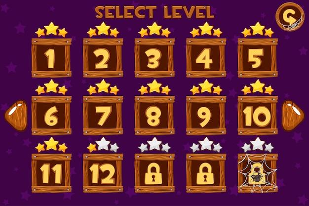 Auswahlbildschirm für cartoon wooden level. spiel ui eingestellt