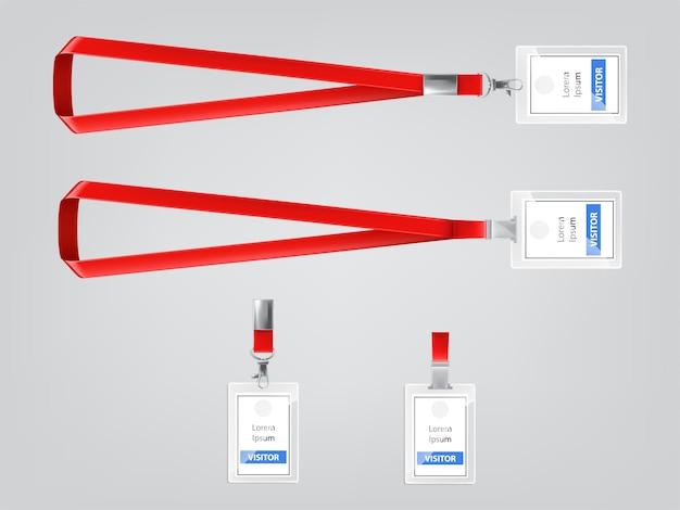Ausweis oder besucherausweis kunststoff abzeichen witz metallclip und roten schlüsselband
