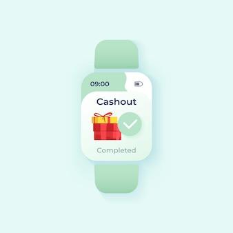Auszahlung abgeschlossen smartwatch-schnittstellenvektorvorlage. design für den benachrichtigungs-tagesmodus der mobilen app. nachrichtenbildschirm für die geldüberweisung. flache benutzeroberfläche für die anwendung. geschenke auf dem smartwatch-display