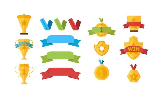 Auszeichnung für gewinner. goldpokale, medaillen und andere sporttrophäen für gewinner in flachem design. set gold vergibt ikonen des erfolgs und des sieges mit trophäen, sternen, bechern, bändern, medaillen.