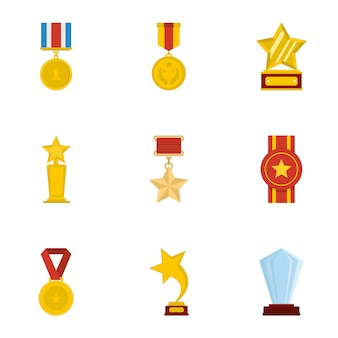 Auszeichnung icons set. karikatursatz von 9 auszeichnungsvektorikonen