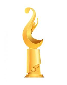 Auszeichnung oder trophäenbecher. triumph sportpreise auf dem ersten platz, gewinner trophäe gold cup illustration. beste wettbewerbsleistung. auszeichnungen mit wellenform