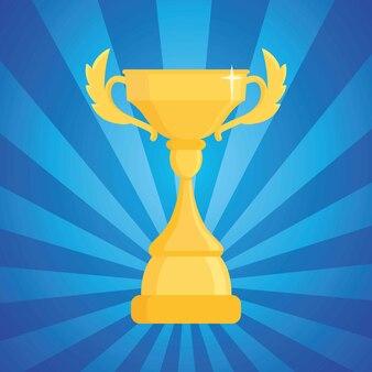 Auszeichnung trophäe illustration. cup des siegers auf einem blauen streifen mit licht.