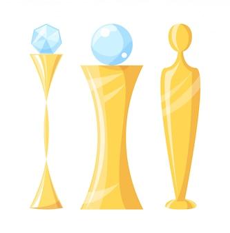 Auszeichnung und trophäe mit crystal illustration