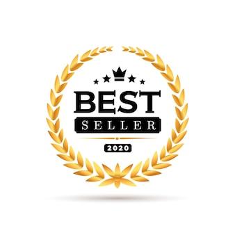 Auszeichnungen bestseller-abzeichen-logo. goldene bestsellerillustration. auf weißem hintergrund isoliert.