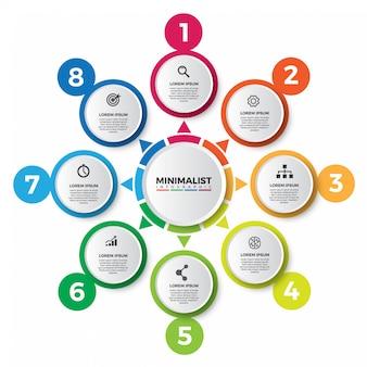 Auszug der bunten infographic designschablone.