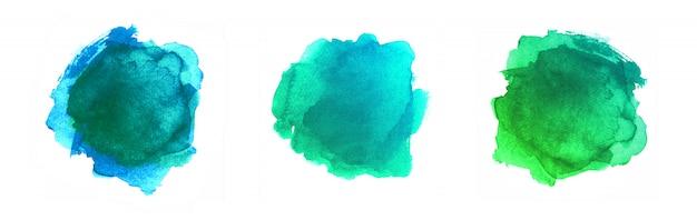 Auszug gemalte formen getrennt auf weißem hintergrund. grüner aquarell-vektor-beschaffenheits-satz