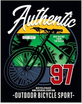 Authentischer outdoor-fahrradsport, illustrationstypografie