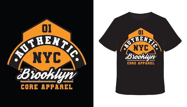 Authentisches brooklyn-typografie-t-shirt-design