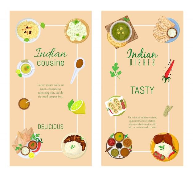 Authentisches indisches essen, ursprüngliches köstliches geschmacksbanner, illustration. würziges asiatisches lebensmittel, pikantes geschmacksprodukt.